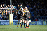 Joe Simpson of London Wasps (right) receives a yellow card for his challenge on Nick MacLeod of Sale Sharks during the Aviva Premiership match between London Wasps and Sale Sharks at Adams Park on Saturday 1st March 2014 (Photo by Rob Munro)