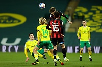 17th April 2021; Carrow Road, Norwich, Norfolk, England, English Football League Championship Football, Norwich versus Bournemouth; David Brooks of Bournemouth wins a header past Cantwell of Norwich