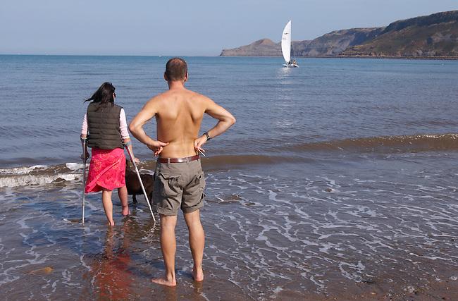 Runswick Bay - North Yorkshire - England disabled women paddling