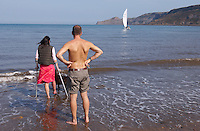 Runswick Bay - North Yorkshire - England disabled women paddling
