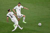 Giorgio Chiellini and Leonardo Bonucci of Italy of Italy during the Uefa Euro 2020 Group stage - Group A football match between Turkey and Italy at stadio Olimpico in Rome (Italy), June 11th, 2021. Photo Andrea Staccioli / Insidefoto