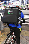 An Uber Eats food delivery courier is seen in Tokyo, Japan on June 4, 2020. Tokyo issued a coronavirus alert for the Japanese capital amid worries of a resurgence of infections only a week after a state of emergency was lifted. (Photo by Naoki Nishimura/AFLO)