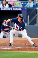 Keith Werman #2 of the Virginia Cavaliers lays down a bunt against the Duke Blue Devils at Durham Bulls Athletic Park on April 20, 2012 in Durham, North Carolina.  The Blue Devils defeated the Cavaliers 6-3.  (Brian Westerholt/Four Seam Images)