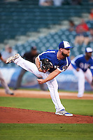 Oklahoma City Dodgers pitcher Ryan Dennick (32) delivers a pitch during a game against the Fresno Grizzles on June 1, 2015 at Chickasaw Bricktown Ballpark in Oklahoma City, Oklahoma.  Fresno defeated Oklahoma City 14-1.  (Mike Janes/Four Seam Images)