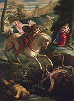 Saint George and the Dragon<br /> Artist:Tintoretto, Jacopo (1518-1594)<br /> Museum:State Hermitage, St. Petersburg<br /> Method:Oil on canvas<br /> Created:1543<br /> School:Italy, Venetian School<br /> Trend in art:Renaissance