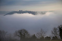 20/01/17<br />  <br /> After days of gloomy weather, blue skies appear above Riber Castle seen poking through the mist as a cloud inversion shrouds the Derwent Valley, above Matlock Bath in the Derbyshire Peak District.<br /> <br /> All Rights Reserved F Stop Press Ltd. (0)1773 550665   www.fstoppress.com