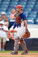 Catcher Hunter Oliver (8) of Cleveland High School in McDonald, Tennessee playing for the Chicago Cubs scout team during the East Coast Pro Showcase on July 28, 2015 at George M. Steinbrenner Field in Tampa, Florida.  (Mike Janes/Four Seam Images)