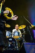 22/05/2006 Barbican Hall, London, England. Brazilian legends Mutantes play a reunion gig after 33 years. Original members on stage: Sergio Dias, Arnaldo Baptista, Ronaldo 'Dinho' Leme, with singer Zelia Duncan. Dinho Leme playing drums.