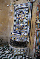 Fez, Morocco - A Public Drinking Fountain in the Old City of Fez.