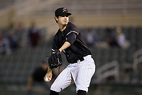 Kannapolis Intimidators relief pitcher Danny Dopico (29) in action against the Greensboro Grasshoppers at Kannapolis Intimidators Stadium on September 8, 2017 in Kannapolis, North Carolina.  The Intimidators defeated the Grasshoppers to sweep the South Atlantic League Northern Division playoffs in two games.  (Brian Westerholt/Four Seam Images)