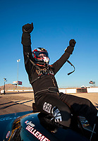 Nov 3, 2019; Las Vegas, NV, USA; NHRA top alcohol funny car driver Sean Bellemeur celebrates after winning the Dodge Nationals at The Strip at Las Vegas Motor Speedway. Mandatory Credit: Mark J. Rebilas-USA TODAY Sports