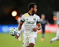 LAKE BUENA VISTA, FL - AUGUST 01: Jeremy Ebobisse #17 of the Portland Timbers looks for options as he runs down a ball during a game between Portland Timbers and New York City FC at ESPN Wide World of Sports on August 01, 2020 in Lake Buena Vista, Florida.