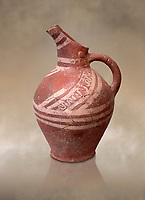 Early Minoan decorated clay jugs ,  Michlos Cemetery 2600-1900 BC BC, Heraklion Archaeological  Museum.
