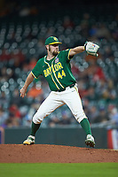 Baylor Bears relief pitcher Logan Freeman (44) in action against the LSU Tigers in game five of the 2020 Shriners Hospitals for Children College Classic at Minute Maid Park on February 29, 2020 in Houston, Texas. The Bears defeated the Tigers 6-4. (Brian Westerholt/Four Seam Images)