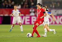 CARSON, CA - FEBRUARY 07: Christine Sinclair #12 of Canada passes off the ball during a game between Canada and Costa Rica at Dignity Health Sports Complex on February 07, 2020 in Carson, California.