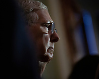 United States Senate Majority Leader Mitch McConnell (Republican of Kentucky) speaks to the media following Republican Senate luncheons on Capitol Hill in Washington D.C., U.S., on Tuesday, November 5, 2019.<br />  <br /> Credit: Stefani Reynolds / CNP /MediaPunch
