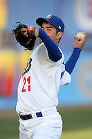 Zach Lee #21 of the Rancho Cucamonga Quakes warms up before pitching against the Lancaster JetHawks at The Epicenter on April 10, 2012 in Rancho Cucamonga,California.  Rancho Cucamonga defeated Lancaster 7-5.(Larry Goren/Four Seam Images)