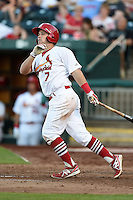 Springfield Cardinals second baseman Jacob Wilson (7) at bat during a game against the Frisco Rough Riders on June 1, 2014 at Hammons Field in Springfield, Missouri.  Springfield defeated Frisco 3-2.  (Mike Janes/Four Seam Images)