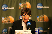 6 April 2008: Stanford Cardinal head coach Tara VanDerveer during Stanford's 82-73 win against the Connecticut Huskies in the 2008 NCAA Division I Women's Basketball Final Four semifinal game at the St. Pete Times Forum Arena in Tampa Bay, FL.