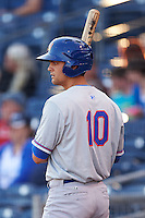 Midland RockHounds shortstop Chad Pinder (2) on deck during a game against the Tulsa Drillers on June 2, 2015 at Oneok Field in Tulsa, Oklahoma.  Midland defeated Tulsa 6-5.  (Mike Janes/Four Seam Images)