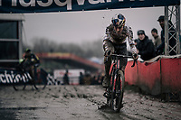 Wout Van Aert (BEL/Cibel-Cebon) with 1 lap to go (after being dropped by Toon Aerts).<br /> <br /> Elite Men's Race<br /> Belgian National CX Championschips<br /> Kruibeke 2019