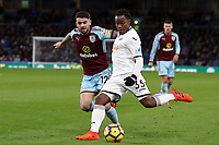 Renato Sanches of Swansea City and Robbie Brady of Burnley during the Premier League match between Burnley and Swansea City at Turf Moor, Burnley, England, UK. Saturday 18 November 2017