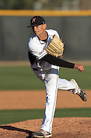 Louis Cohen #37 of the Cal State Northridge Matadors pitches against the Rhode Island Rams at Matador Field on March 14, 2012 in Northridge,California. Rhode Island defeated Cal State Northridge 10-8.(Larry Goren/Four Seam Images)