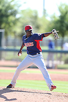 Alexis Paredes #46 of the Cleveland Indians pitches during a Minor League Spring Training Game against the Los Angeles Dodgers at the Los Angeles Dodgers Spring Training Complex on March 22, 2014 in Glendale, Arizona. (Larry Goren/Four Seam Images)
