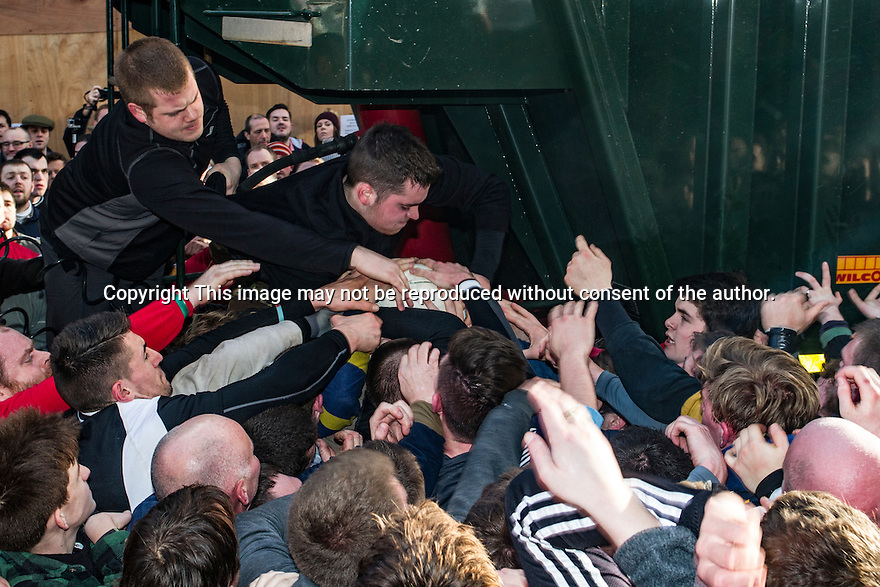09/02/16 <br /><br />Today (Tuesday), the annual game of Shrovetide football is played out across the Derbyshire town of Ashbourne between the Up'ards and Down'ards. The two day event is held every Shrove Tuesday and Ash Wednesday, attracting attracts over 2000 visitors to the game that is alleged to have been started in the 11th Century under the reign of William the Conquerer.  Here, opposing sides in the main 'hug' play furiously to gain posession of the ball.<br /><br />All Rights Reserved: F Stop Press Ltd. +44(0)1335 418365   +44 (0)7765 242650 www.fstoppress.com