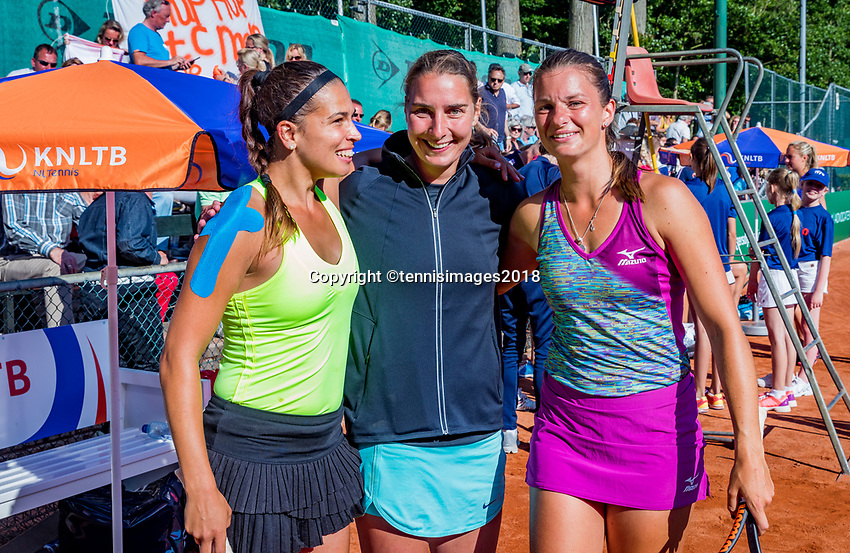 The Hague, Netherlands, 10 June, 2018, Tennis, Play-Offs Competition, Quirine Lemoine (L) and Chantal Skamlova and Danielle Harmsen (M) celebrate the winning point, Zandvoort is Champion.<br /> Photo: Henk Koster/tennisimages.com