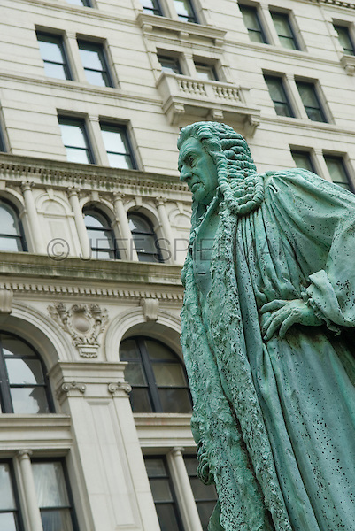 Memorial statue of prominent early New Yorker Jonh Watts (1749-1836) in the Trinity Churchyard, New York City, New York State, USA