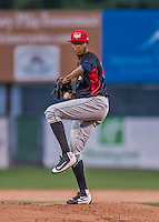 31 August 2016: Tri-City ValleyCat pitcher Jorge Alcala on the mound against the Vermont Lake Monsters at Centennial Field in Burlington, Vermont. The Lake Monsters defeated the ValleyCats 5-3 in NY Penn League action. Mandatory Credit: Ed Wolfstein Photo *** RAW (NEF) Image File Available ***