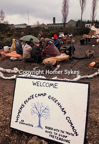 Peace Camp Women s demonstration against American military base  Greenham Common Berkshire 1983