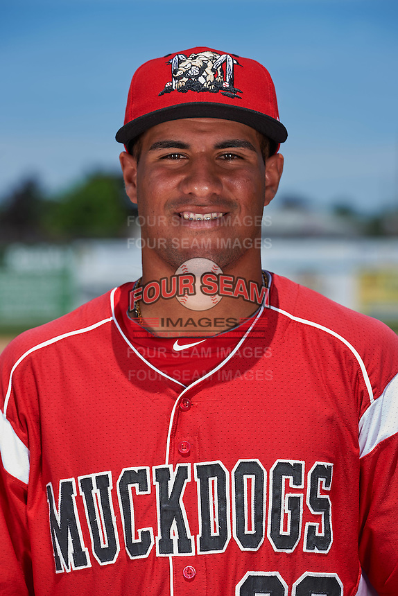 Batavia Muckdogs infielder Rony Cabrera (26) poses for a photo before the teams first practice on June 15, 2016 at Dwyer Stadium in Batavia, New York.  (Mike Janes/Four Seam Images)