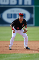 Batavia Muckdogs third baseman Nic Ready (5) during a NY-Penn League game against the Auburn Doubledays on June 19, 2019 at Dwyer Stadium in Batavia, New York.  Batavia defeated Auburn 5-4 in eleven innings in the completion of a game originally started on June 15th that was postponed due to inclement weather.  (Mike Janes/Four Seam Images)