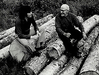 1987 FILE PHOTO - ARCHIVES -<br /> <br /> Roch Carrier: Quebec author chats to a villager in Ste. Justine; Que.; not long after the had made his mark on literature with his trilogy written in the late '60s and early '70s. His Heartbreaks Along The Road is grimly funny.<br /> <br /> 1987<br /> <br /> PHOTO :  Frank Lennon - Toronto Star Archives - AQP