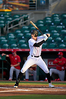 Jupiter Hammerheads Sean Reynolds (25) bats during a game against the Palm Beach Cardinals on May 11, 2021 at Roger Dean Chevrolet Stadium in Jupiter, Florida.  (Mike Janes/Four Seam Images)