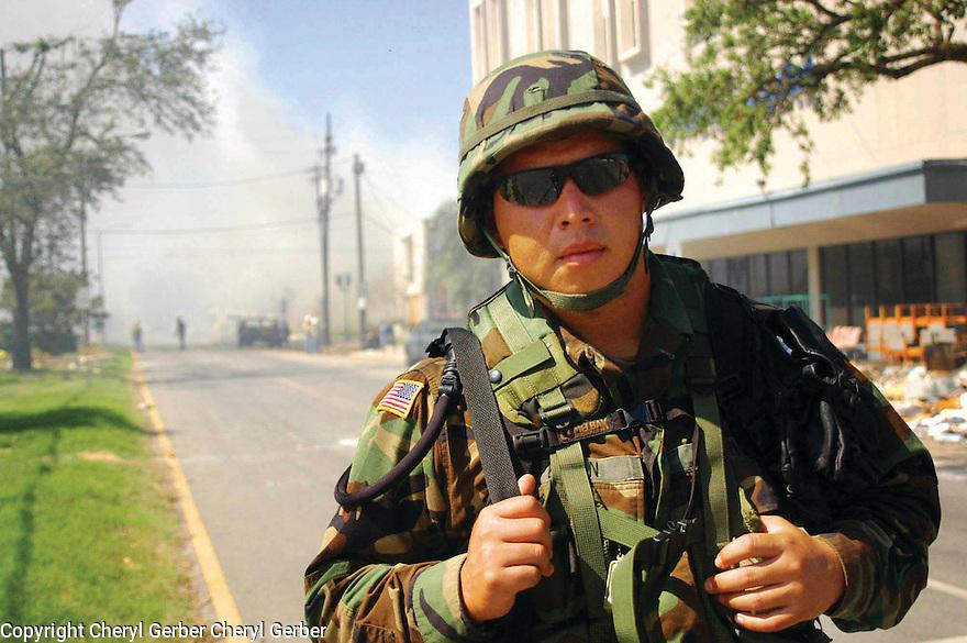 National Guardsman during post-Katrina fires, 2005