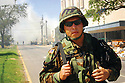 National Guardsman during post-Katrina fires, 2005