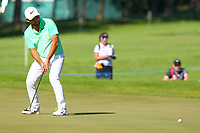 Pablo Larrazabal misses his putt on the 5th green during the BMW PGA Golf Championship at Wentworth Golf Course, Wentworth Drive, Virginia Water, England on 26 May 2017. Photo by Steve McCarthy/PRiME Media Images.