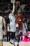 Real Madrid´s Andres Nocioni and Galatasaray´s Carter during 2014-15 Euroleague Basketball match between Real Madrid and Galatasaray at Palacio de los Deportes stadium in Madrid, Spain. January 08, 2015. (ALTERPHOTOS/Luis Fernandez)
