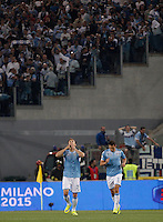 Calcio, finale Tim Cup: Juventus vs Lazio. Roma, stadio Olimpico, 20 maggio 2015.<br /> Lazio's Stefan Radu, left, celebrates with teammate Miroslav Klose after scoring during the Italian Cup final football match between Juventus and Lazio at Rome's Olympic stadium, 20 May 2015.<br /> UPDATE IMAGES PRESS/Isabella Bonotto