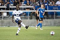 SAN JOSE, CA - AUGUST 13: Leonard Owusu #17 of the Vancouver Whitecaps passes the ball during a game between San Jose Earthquakes and Vancouver Whitecaps at PayPal Park on August 13, 2021 in San Jose, California.