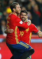Spain's Sergio Ramos (l) and Diego Costa celebrate goal during FIFA World Cup 2018 Qualifying Round match. March 24,2017.(ALTERPHOTOS/Acero) /NortePhoto.com