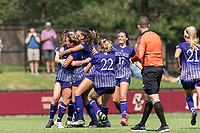 NEWTON, MA - SEPTEMBER 12: Shelley Blumsack #11 of Holy Cross celebrates her goal with teammates during a game between Holy Cross and Boston College at Newton Campus Soccer Field on September 12, 2021 in Newton, Massachusetts.