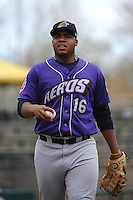 Akron Aeros infielder Jesus Aguilar (16) during game against the Trenton Thunder at ARM & HAMMER Park on April 17, 2013 in Trenton, New Jersey.  Akron defeated Trenton 10-6.  Tomasso DeRosa/Four Seam Images
