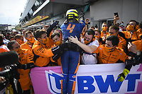 July 4th 2021;  Red Bull Ring, Spielberg, Austria; F1 Grand Prix of Austria, race day;   F1 Grand Prix of Austria 4 Lando Norris GBR, McLaren F1 Team celebrates his 3rd place finish