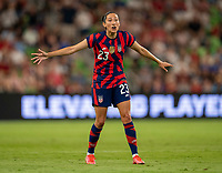 AUSTIN, TX - JUNE 16: Christen Press #23 of the USWNT yells to her team during a game between Nigeria and USWNT at Q2 Stadium on June 16, 2021 in Austin, Texas.