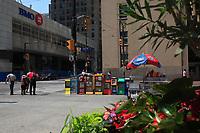 Toronto (ON) CANADA - July 2012 - Bay Street Financial District : BOM and Bank of Nova Scotia<br />, on King street corner bay