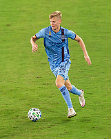 WASHINGTON, DC - SEPTEMBER 06: Keaton Parks #55 of New York City FC dribbles during a game between New York City FC and D.C. United at Audi Field on September 06, 2020 in Washington, DC.